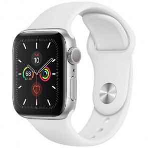 Apple Watch Series 5 40mm Silver GPS Aluminium Case with White Sport Band