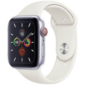 Apple Watch Series 5 44mm Silver GPS + Cellular Aluminium Case with White Sport Band (MWVY2)