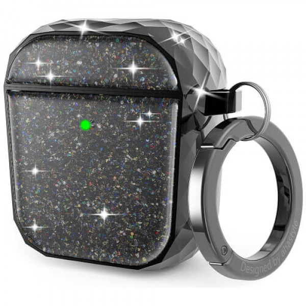 Чохол для навушників AhaStyle Twinkle Glitter Protection Case for AirPods 1/2 Black (CP-119A-BK)