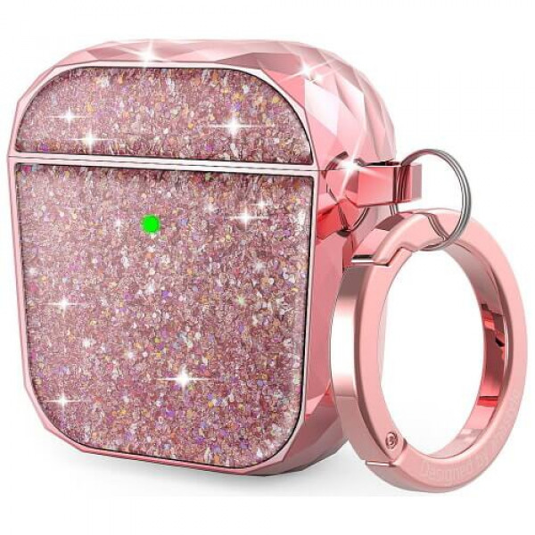 Чохол для навушників AhaStyle Twinkle Glitter Protection Case for AirPods 1/2 Pink (CP-119A-PK)