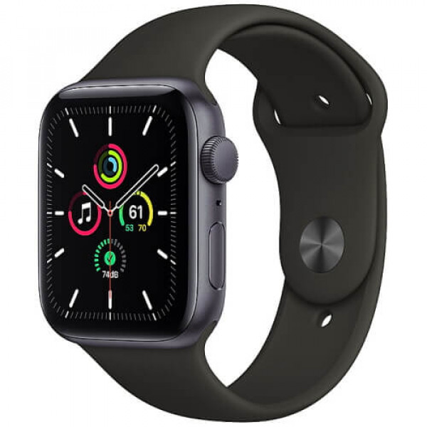 Apple WATCH SE 44mm Space Gray Aluminium Case with Black Sport Band (MYDT2)