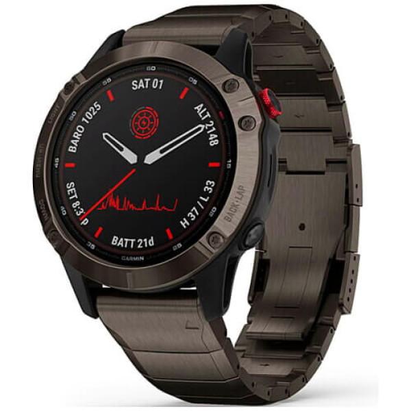 Смарт-годинник Garmin Fenix 6 Pro Solar Titanium Carbon Gray Dlc With Titanium Dlc Band (010-02410-23) ГАРАНТІЯ 3 міс.