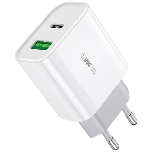 Мережевий зарядний пристрій WK Design Maxspeed QC 3.0 + PD 20W Charger White (WP-U53)
