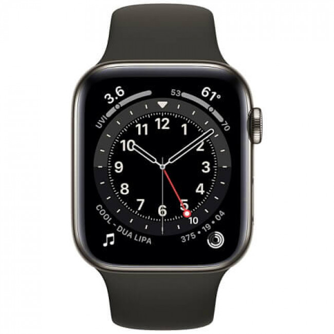 Apple Watch Series 6 44mm GPS + Cellular Graphite Stainless Steel Case with Black Sport Band (M07Q3)