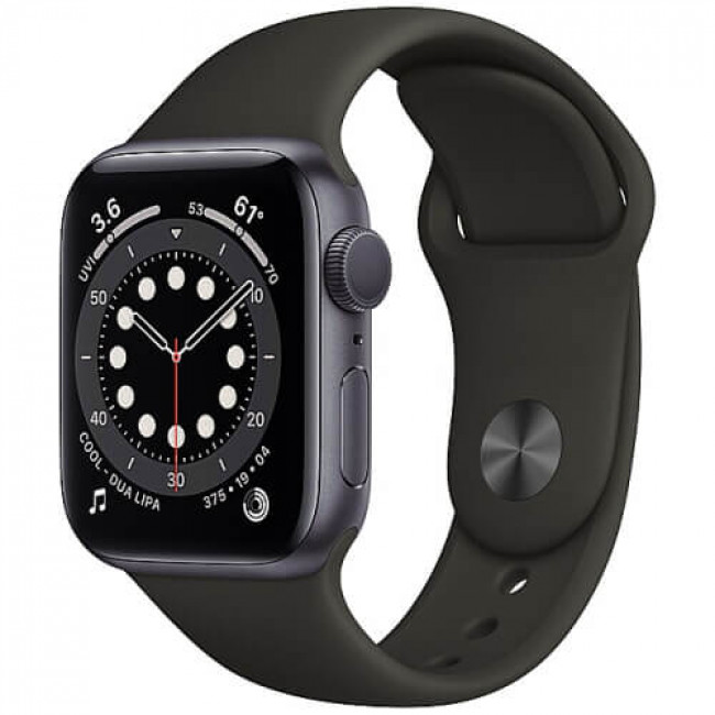 Apple WATCH Series 6 44mm Space Gray Aluminium Case with Black Sport Band (M00H3)