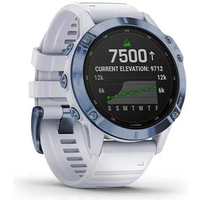 Смарт-годинник Garmin Fenix 6 Pro Solar Edition Mineral Blue with Whitestone Band (010-02410-19) ГАРАНТІЯ 3 міс