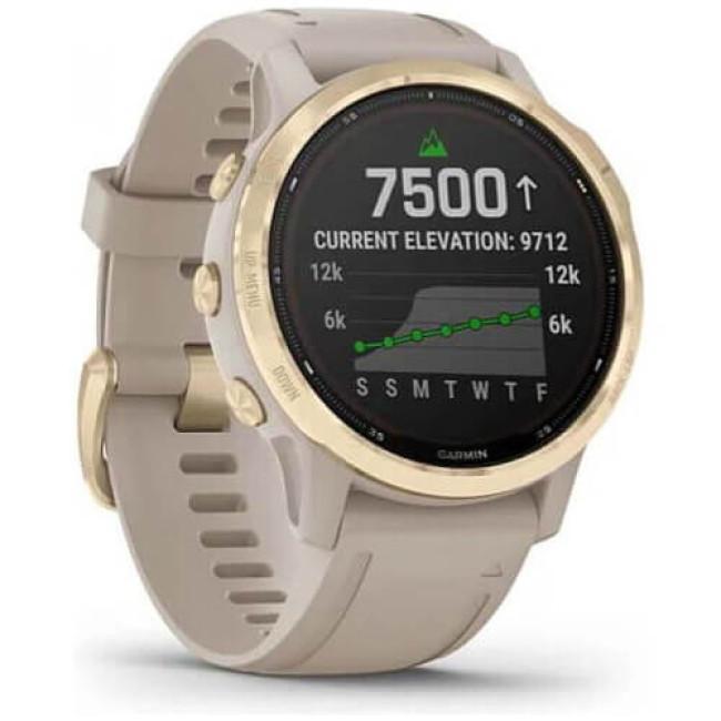 Смарт-годинник Garmin Fenix 6S Pro Solar Edition Light Gold with Light Sand Band (010-02409-11) ГАРАНТІЯ 3 міс.
