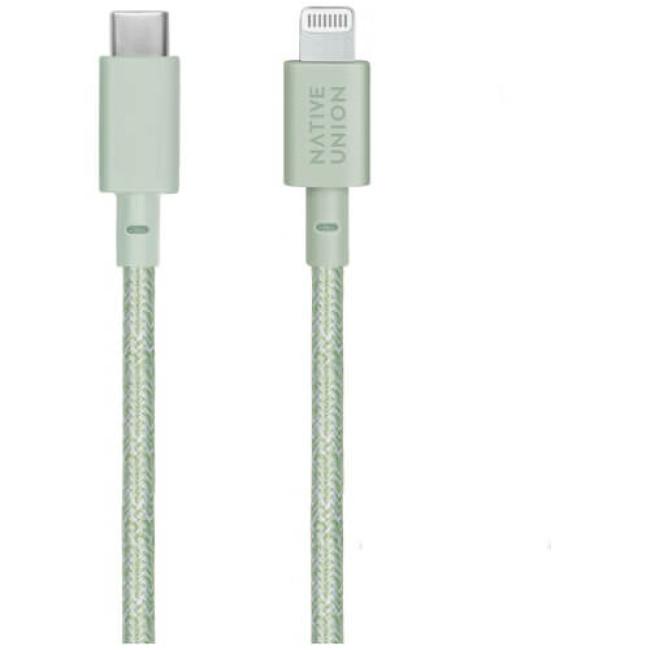 Кабель Native Union Belt Cable USB-C to Lightning Sage (1.2 m) (BELT-CL-GRN-2-NP)