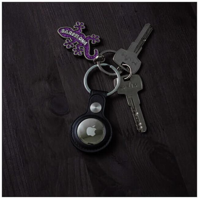 Аксесуар Yosyn Leather Key Ring Case For AirTag Black