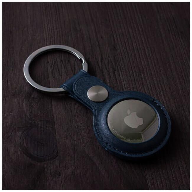 Аксесуар Yosyn Leather Key Ring Case For AirTag Blue