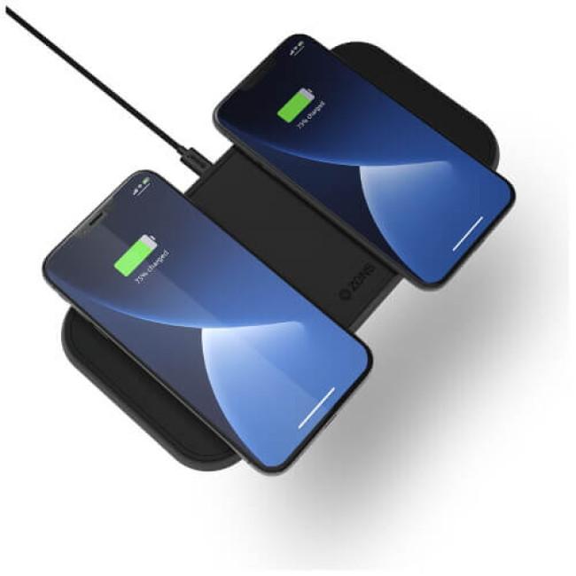 Бездротовий зарядний пристрій Zens Dual Aluminium Wireless Charger Black with USB-C 30W PD Wall Charger (ZEDC10B/00)